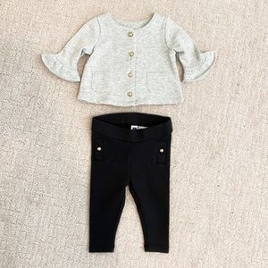 JANIE & JACK Cardigan and Leggings Gold Buttons